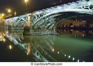 Triana bridge, Seville, Spain - Triana bridge in night,...