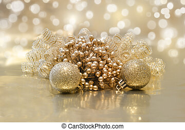 Christmas decorations - Golden Christmas background with...