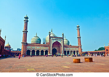 Jama Masjid Mosque, old Delhi, India. - Jama Masjid Mosque,...