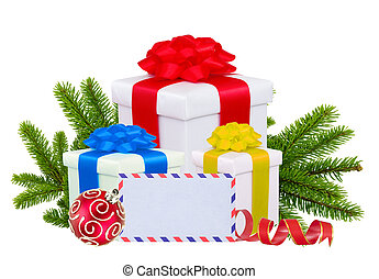 Christmas Gift Boxes, Decoration Balls and Tree Branch...