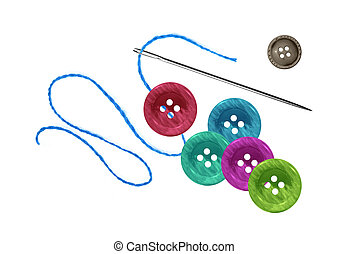bright sewing buttons and needle with thread isolated on...