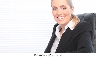 Happy Confident Businesswoman with big smile, close up and...