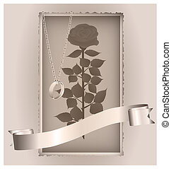 retro rose and ring - on a vintage background are old paper...