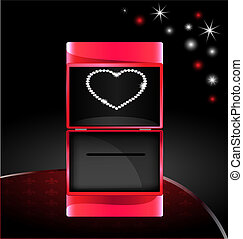 abstract gift box with jewelry heart