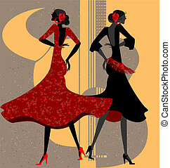 two flamenco dancers - on abstract background are two women...