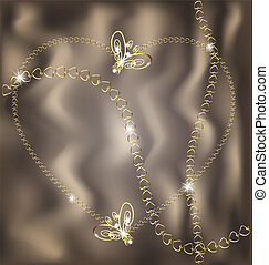 jewel heart - on an beige background are jewelry heart,...