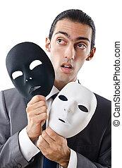 Industrial, espionagem, conceito, mascarado, homem...