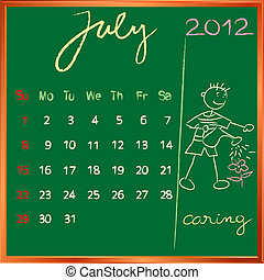 2012 calendar 7 july for school - 2012 calendar on a...