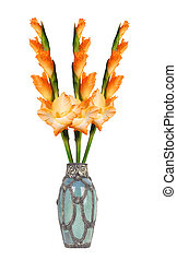 Beautiful orange gladiolus in vase isolated on white...