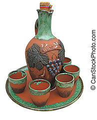 Colorful designed clay vase isolate