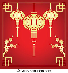 Chinese New Year greeting card - Chinese paper cutting motif...