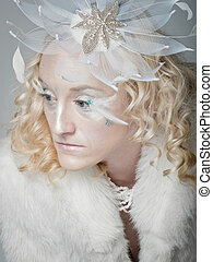 Ice Queen - Ice queen - beautiful woman in winter...