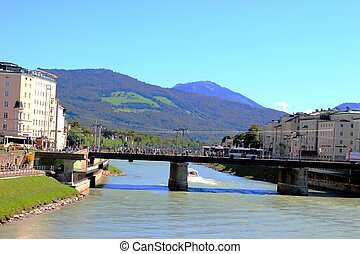 landscape of Salzburg. View to the river and mountains....