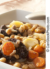Chickpea stews - Chickpea stew with black pudding and potato