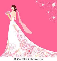 Bride in Floral Wedding Dress - illustration of bride...