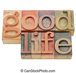 good life in letterpress type - good life - isolated text in...