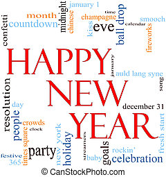Happy New Year Word Cloud Concept - An illustration around...