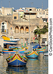 The maltese fishing village, colorful boats