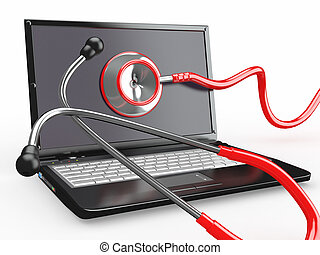 Service for laptop repair Laptop with stethoscope 3d