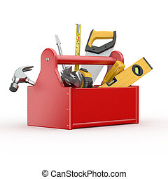 Toolbox with tools Skrewdriver, hammer, handsaw and wre