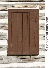 Log Home Window - Covered and protected window of a log home...