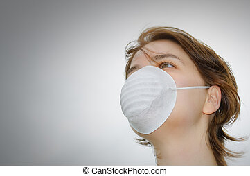 Woman with medical mask and copy space - Woman wears...