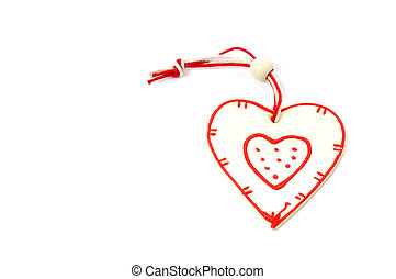 wooden heart on Christmas tree on white background