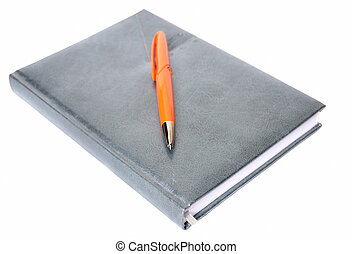 The diary and pen on a white background