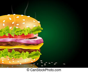 steaming cheeseburger on a green background and scattered...