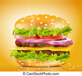 steaming cheeseburger on a yellow background