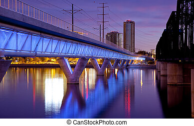 Tempe Arizona - Phoenix Metro light rail bridge across the...