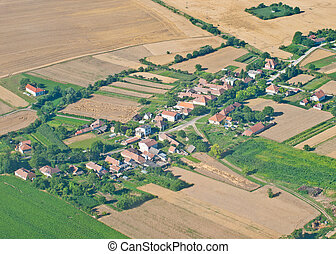 Village, aerial view - Aerial view of village and...