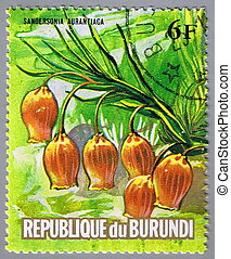 Flower - REPUBLIC OF BURUNDI - CIRCA 1974: A stamp printed...