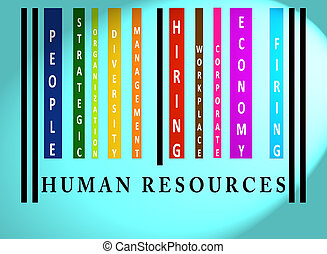 Human Resources  word on colored barcode