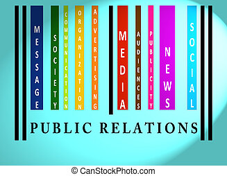 Public Relations word on colored barcode - Public Rellations...
