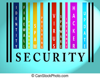Security word on colored barcode - Security word on colorful...