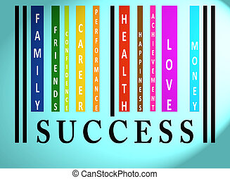 Success word on colored barcode