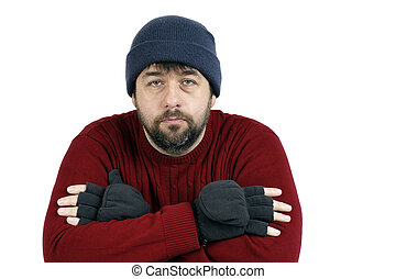Sad man with hat and gloves - Middle-aged bearded man with...