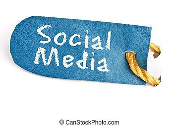 Social Media word on label