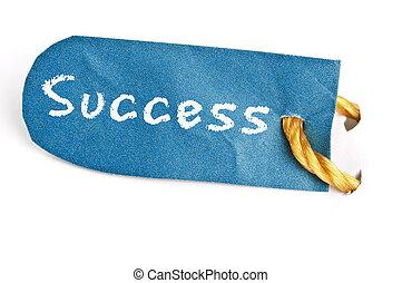 Success word on label