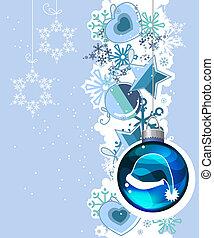 azul, Bolas, Natal, fundo, penduradas