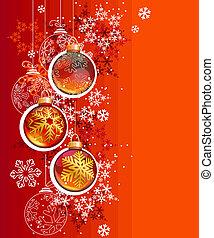 vermelho, Bolas, Natal, fundo, penduradas