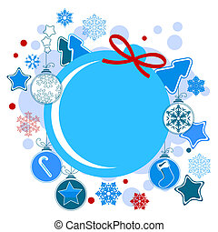 Round Christmas label with balls and stars