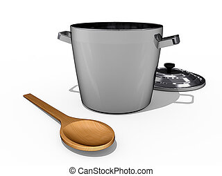 Taste Test - A cooking Pot and a wooden spoon on a white...