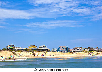 beach with cottages at Nags Head in the outer banks