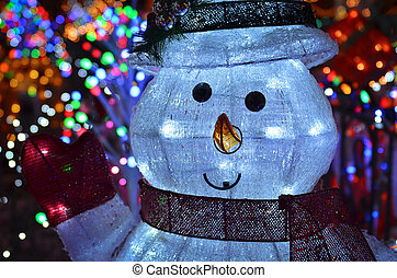 Christmas Concept With Snowman Lights At Night - Christmas...