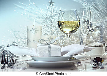 Festive silver dinner setting for the holidays