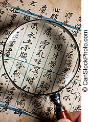 Old Chinese Prescription and magnifying glass
