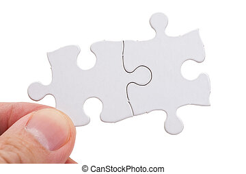 Blank Puzzle - White Blank Puzzle, business concept