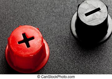vermelho, positivo, pretas, negativo